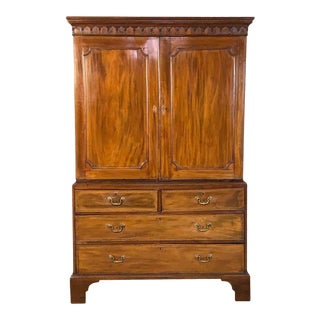 Early 19th Century English Mahogany Linen Press For Sale