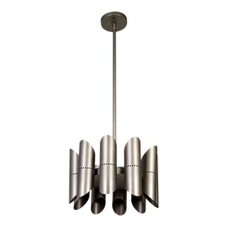 Mid 20th Century German 10-Light Graphite Pipe Pendant For Sale