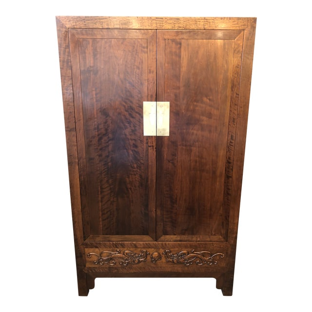 Asian Style Walnut Bar or Media Armoire For Sale