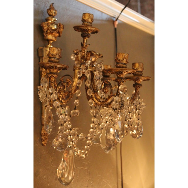 Antique French Bronze & Crystal Sconces - a Pair - Image 4 of 10