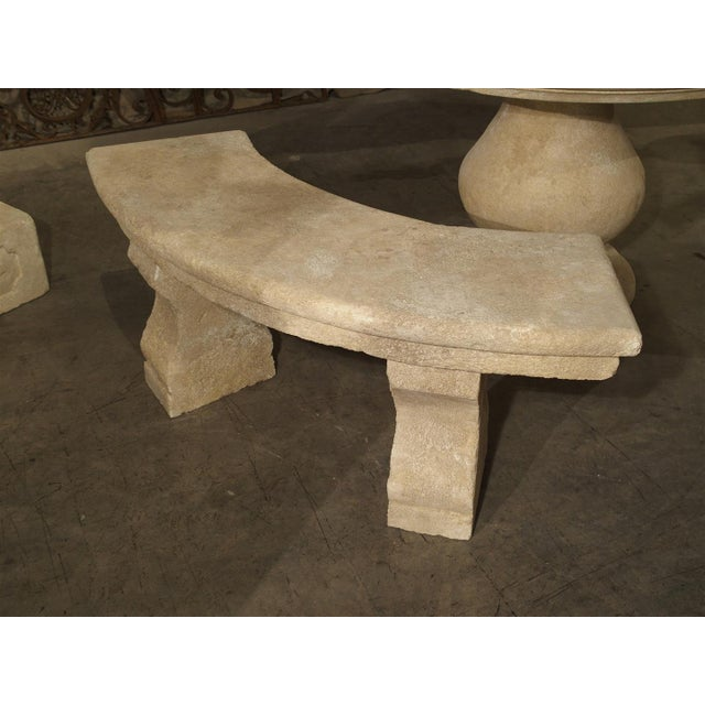 Limestone Small Carved Limestone Garden Bench from Provence, France For Sale - Image 7 of 9