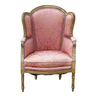19th Century Giltwood Pink Silk Bergere Chair