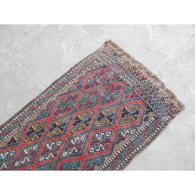 1970s Handwoven Turkish Kilim Rug Pastel Colors Area Rug Petite Braided Kilim For Sale - Image 5 of 8