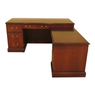 1980s Cherry L-Shaped Executive Desk For Sale