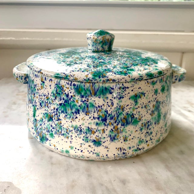 Ceramic Vintage Blue and Green Speckled Pottery For Sale - Image 7 of 7