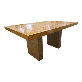 Woven Reed Chevron Dining Table For Sale