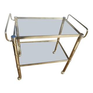 Hollywood Regency Brass & Glass Faux Bamboo Bar Cart
