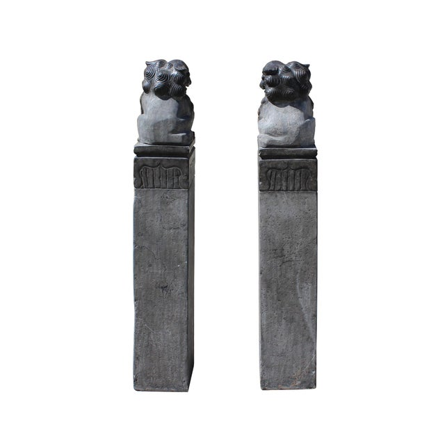 Asian Chinese Pair Black Gray Stone Fengshui Foo Dogs Tall Slim Pole Statues For Sale - Image 3 of 8