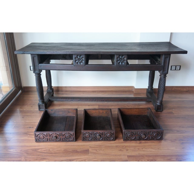 18th Spanish Baroque Carved Walnut Refectory Table For Sale - Image 10 of 10