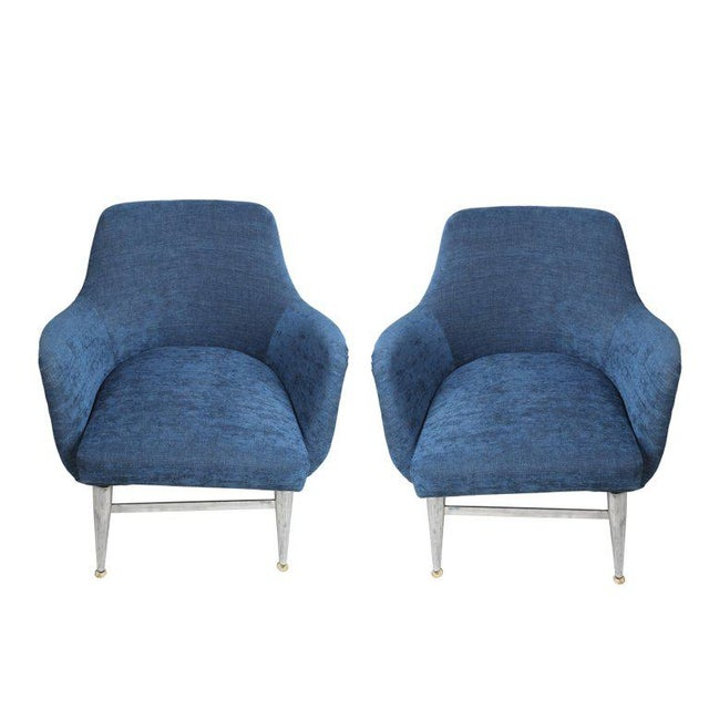 Mid 20th Century Mid-Century Modern Blue Silk Linen Chairs With Chrome Base and Legs - a Pair For Sale - Image 5 of 10