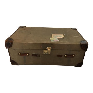 Leather & Khaki Military Trunk For Sale