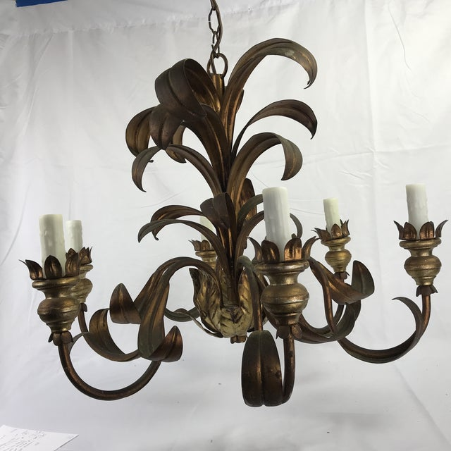French mid-century gilt metal 6-light chandelier. Newly rewired with new wax candle covers.