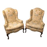 Image of 1970s Vintage Knob Creek Quilted Floral Wingback Chairs- A Pair For Sale