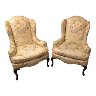 1970s Vintage Knob Creek Quilted Floral Wingback Chairs- A Pair For Sale