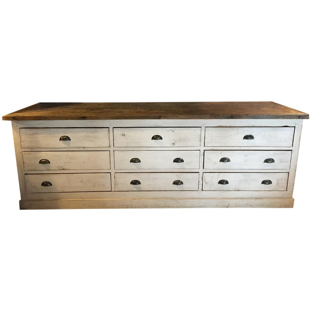 Vintage Weathered White Buffet or Triple Dresser - Image 1 of 11