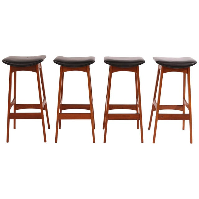Brown 1960s Johannes Andersen Teak and Leather Barstools - Set of 4 For Sale - Image 8 of 8