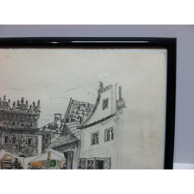 """Early 20th Century """"Town Market"""" Limited Edition Signed (114/200) Framed Print by Shemuel Wodnitzky For Sale - Image 5 of 7"""