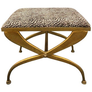 Mid Century French Gilt Iron Bench by Maison Ramsay For Sale