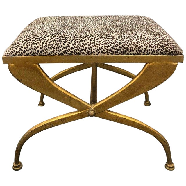 Mid-Century French Gilt Iron Bench by Maison Ramsay For Sale