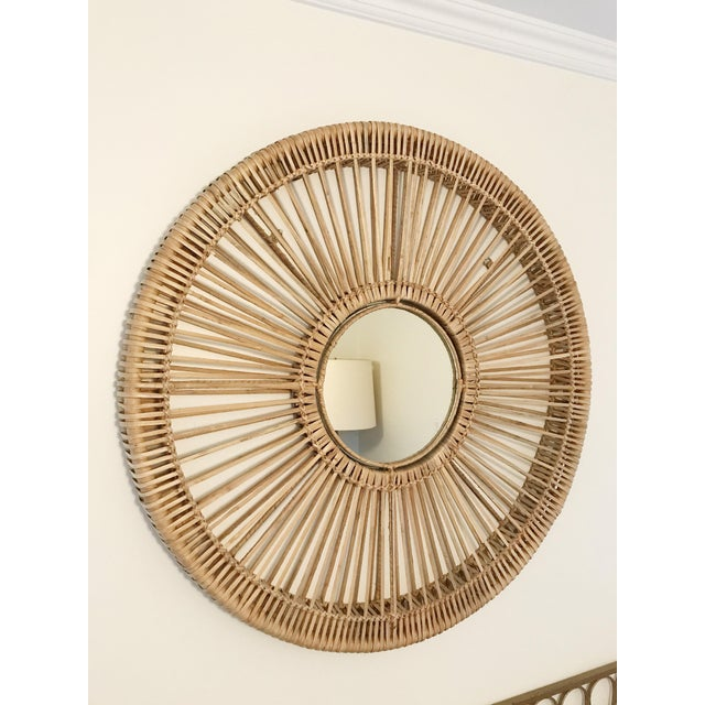 Boho Chic Round Rattan Mirror For Sale - Image 3 of 5