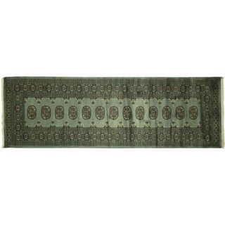 Green Herati Bokhara Wool Runner - 3'x8'