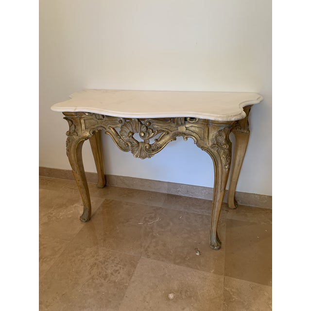 20th Century Louis XV Giltwood Console Table With Marble Top For Sale - Image 11 of 13