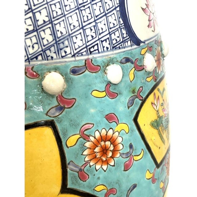 Turquoise Antique Chinese Chinoiserie Turquoise & Yellow Ceramic Garden Seat, A-Pair For Sale - Image 8 of 10