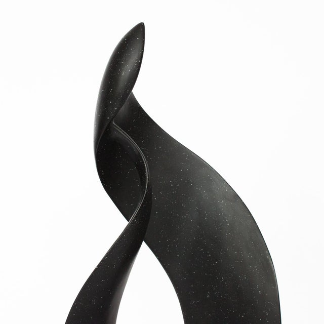 Black Black Abstract Flame Modernist Sculpture For Sale - Image 8 of 12