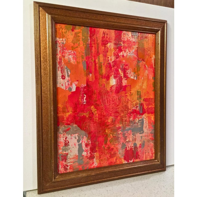 Abstract Red & Orange Painting - Image 3 of 5
