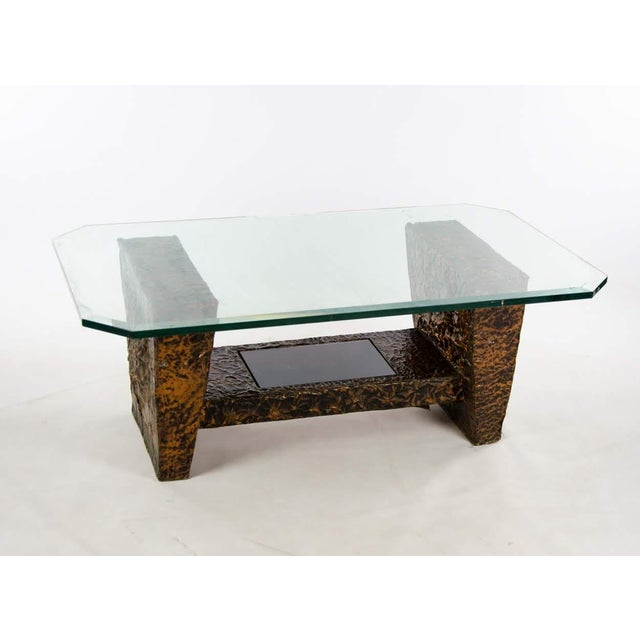 861914de90c6 Mid-Century Brutalist Copper and Glass Top Coffee Table For Sale - Image 11  of