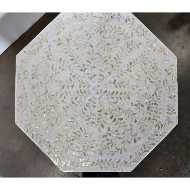 Wood Moroccan Mother of Pear and White Octagonal Coffee Table For Sale - Image 7 of 10