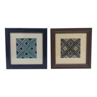 Framed Graphic Needlepoints - A Pair For Sale