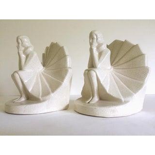 Art Deco Rare Figural Seated Woman German Craquelure Porcelain Bookends - a Pair Preview