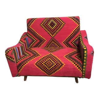 Handmade Marghoum Kilim Woven Sofa From Tunisia For Sale
