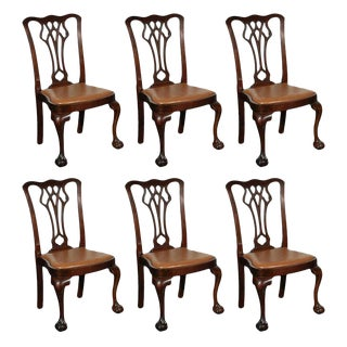 Chippendale Style Side Chairs - Set of 6 For Sale