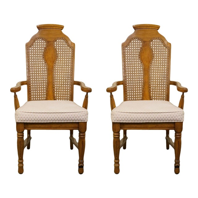 Henry Link Dixie Contemporary Style Cane Back Dining Arm Chairs - a Pair For Sale