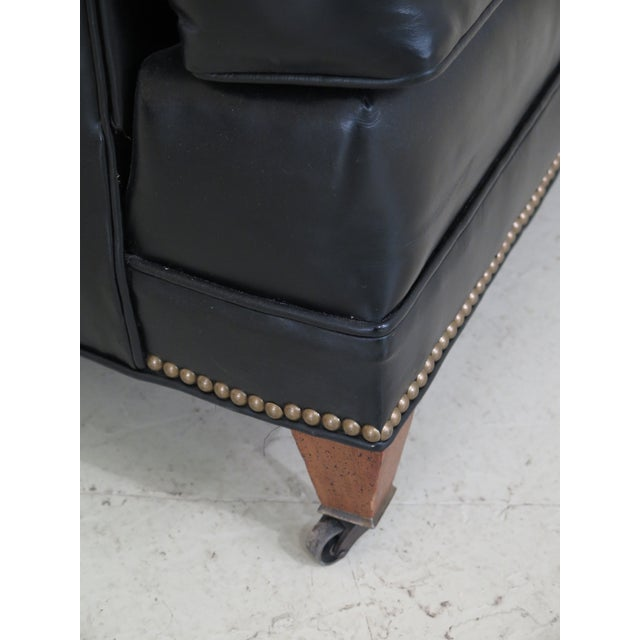 Sherrill Black Leather Club Chair & Ottoman For Sale In Philadelphia - Image 6 of 13