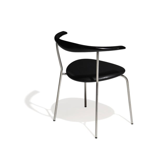 Set of 4 Hans Wegner PP701 Bull Horn Dining Chairs in Black Lacquer, Leather and Steel For Sale - Image 12 of 13