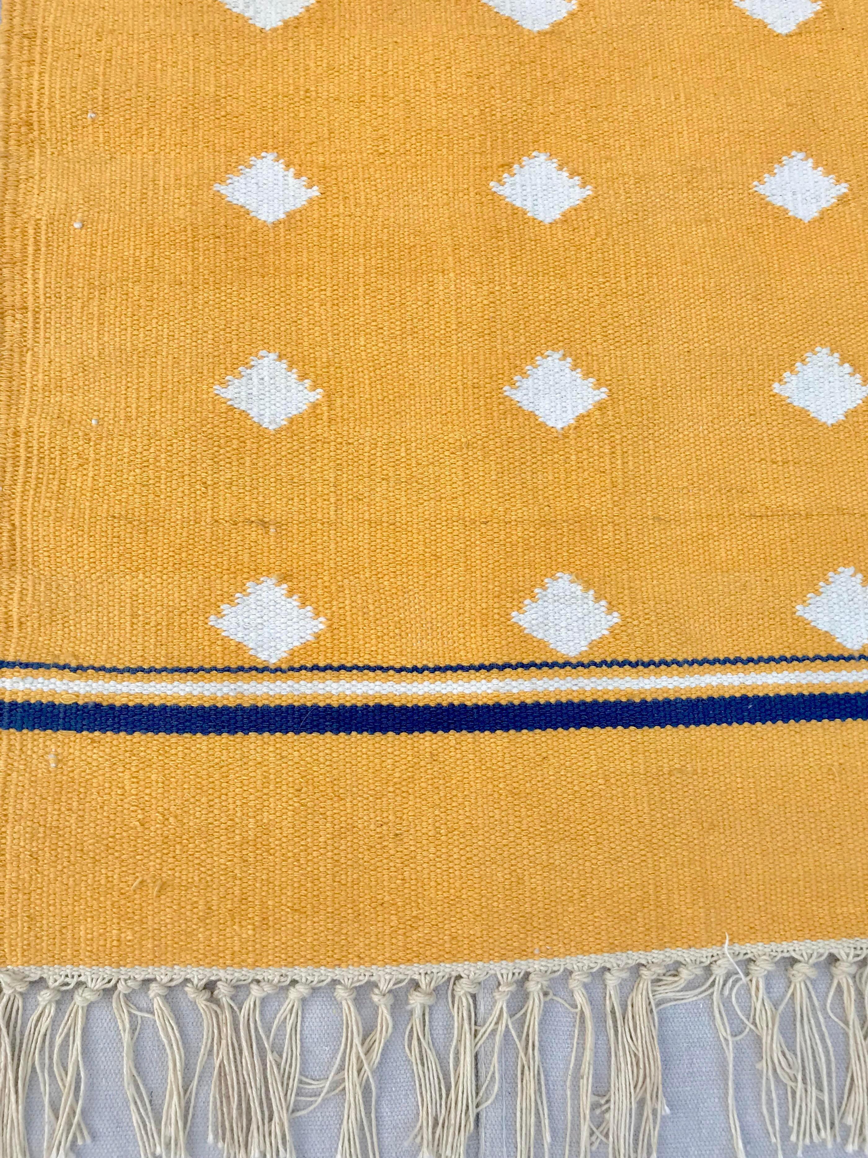 Yellow Flat Weave Cotton Rug 3 7 5 6 Chairish