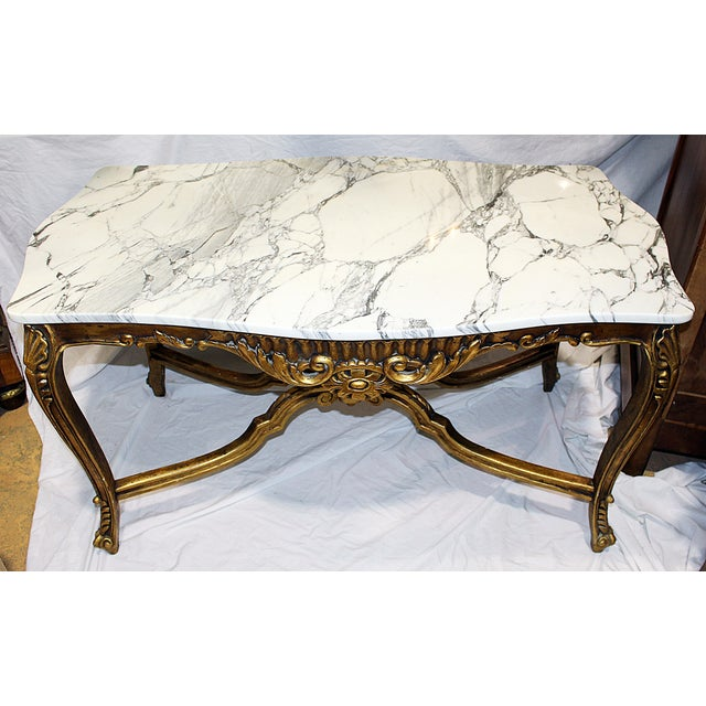 White Italian Rococo Carved & Gilded Wood Console Table For Sale - Image 8 of 10
