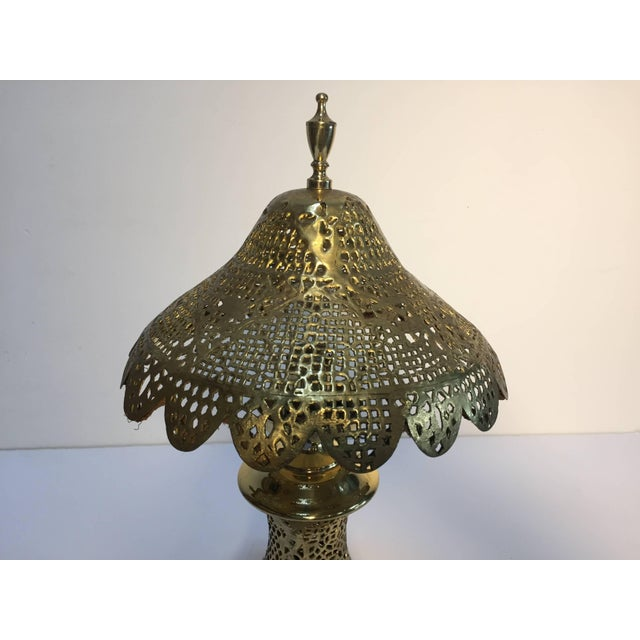 Moorish Revival Brass Syrian Table Lamp For Sale - Image 4 of 11
