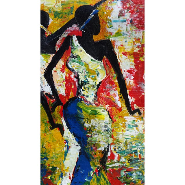 Large Rwanda African Dancing Women Acrylic Painting by Artist J d'Amour - Image 3 of 5