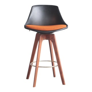 John Yellen Teak Swivel Barstool For Sale
