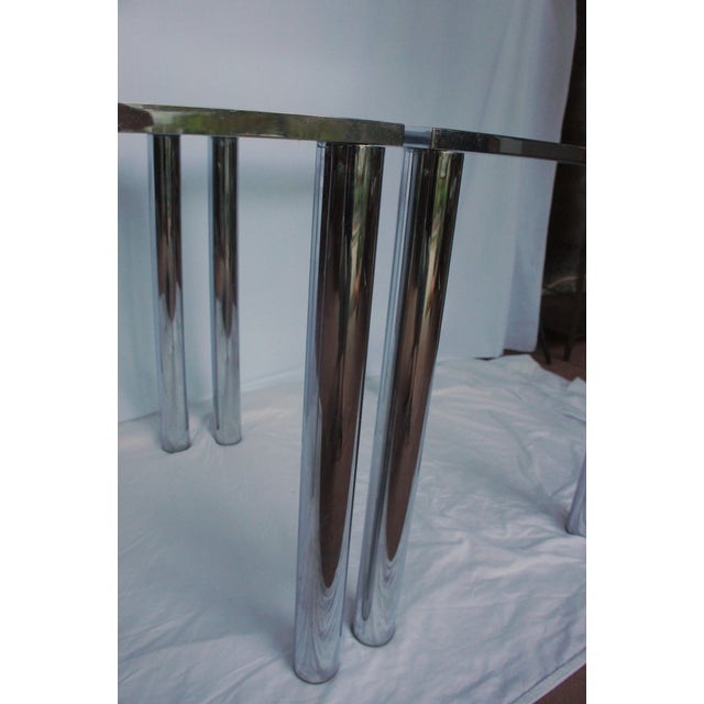 Chrome Milo Baughman Chrome & Glass End Tables - A Pair For Sale - Image 7 of 11