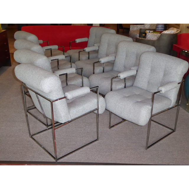Eight Plush Modern Milo Baughman Thin Line Armed Dining Chairs - Image 2 of 11
