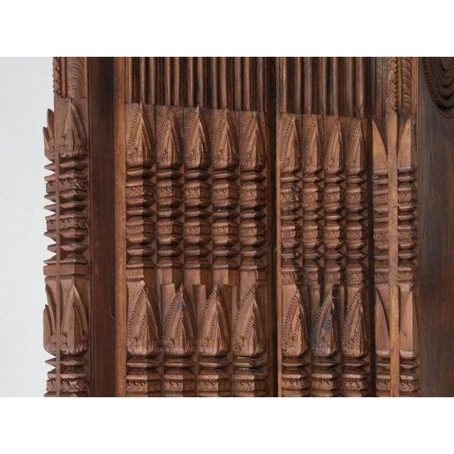 Brown Antique Teak Carved Wood Door Frame For Sale - Image 8 of 12
