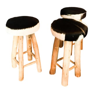 Calypso St. Barth's Fur & Wooden Bar Stools - Set of 3