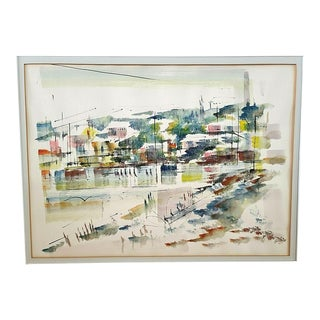 60's Alfred Birdsey (1912-1996) Impressionist Bahamian Harbor Cityscape Painting For Sale