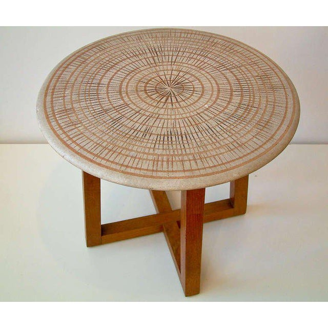 Design Technics Design Technics Ceramic and Walnut Table For Sale - Image 4 of 8