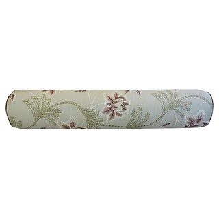 Custom Tailored English Embroidered Linen Bolster Feather/Down Pillow